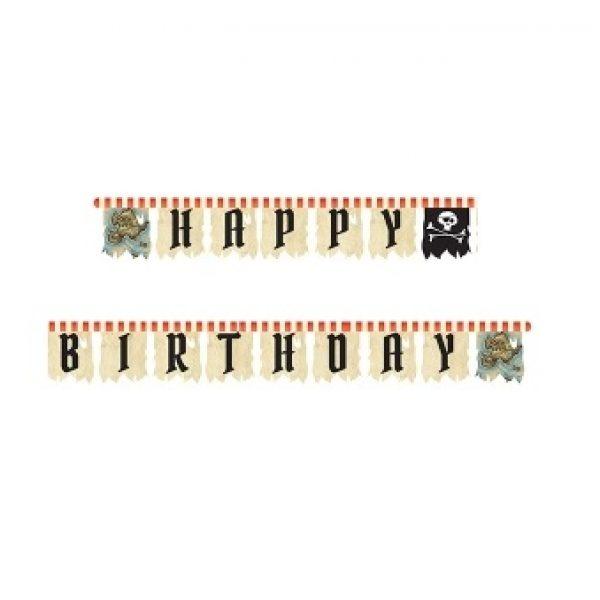 Piratenschiff Happy Birthday Girlande 3 m-0