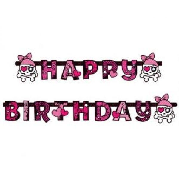 Pink Pirate Happy Birthday Girlande-0