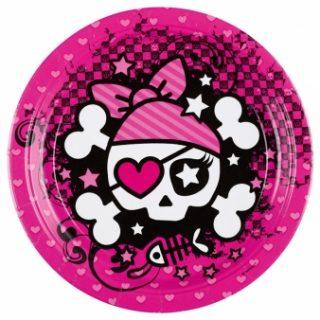 8 Pink Pirate Pappteller-0