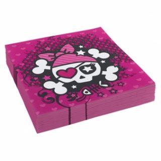 20 Pink Pirate Servietten-0