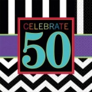 """16 Schwarz Weiss Chevron """"Celebrate 50"""" Servietten 50. Geburtstag-0"""