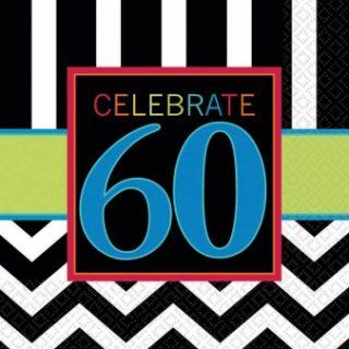 """16 Schwarz Weiss Chevron """"Celebrate 60"""" Servietten-0"""