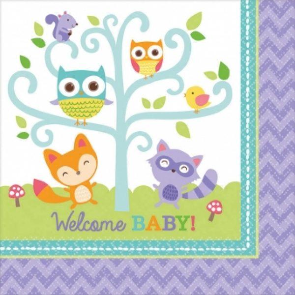 16 Welcome Baby Waldeule Party Servietten-0
