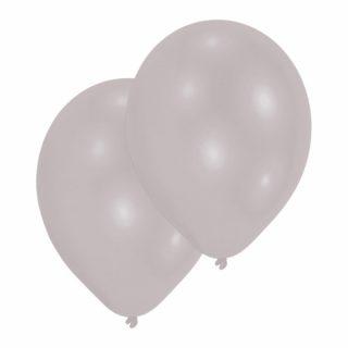 10 Silber Metallic Latex Ballons 28 cm-0