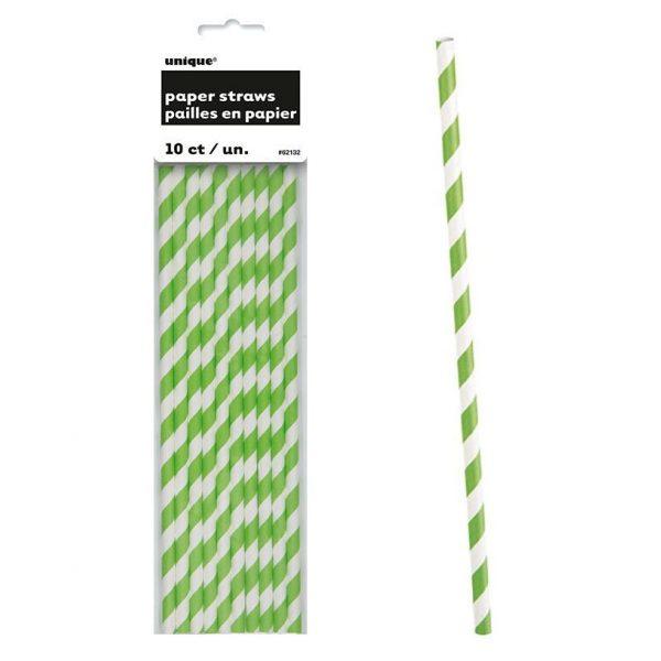 10 Lime Grün Stripes Strohhalme-0