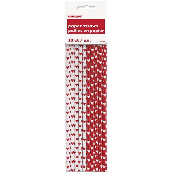10 Herz Rot Strohhalme-2060