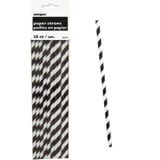 10 Schwarz Weiß Stripes Strohhalme-0
