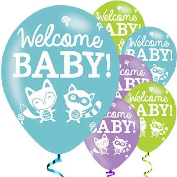 6 Welcome Baby Eule Luftballons 28 cm-0