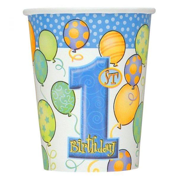 8 Blau 1. Geburtstag Pappbecher-0