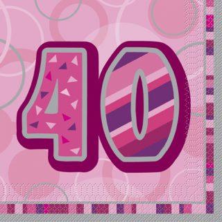 16 Pink Glitz 40. Geburtstag Servietten-0