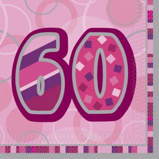 16 Pink Glitz 60. Geburtstag Servietten-0