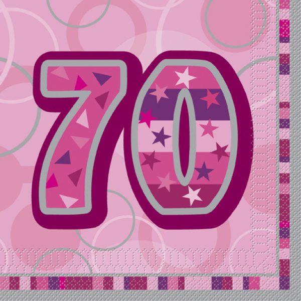 16 Pink Glitz 70. Geburtstag Servietten-0