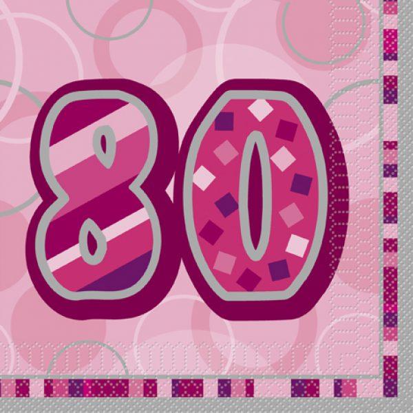 16 Pink Glitz 80. Geburtstag Servietten-0