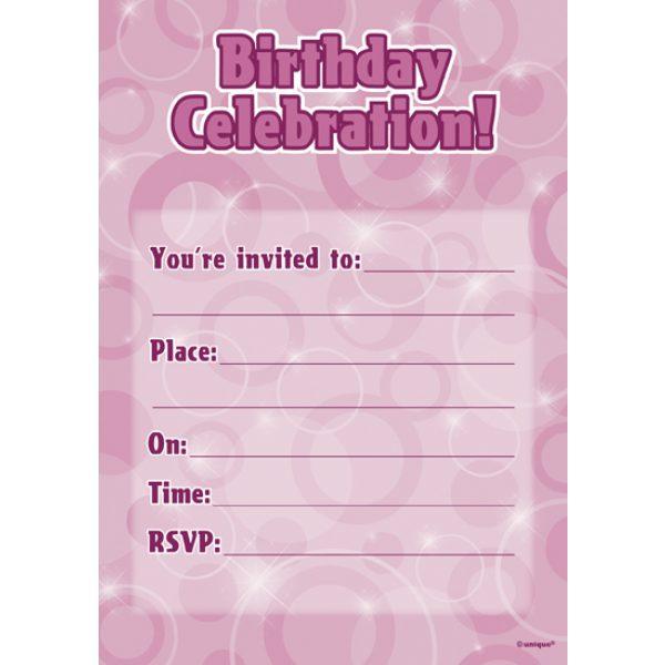 16 Pink Glitz Geburtstag Einladungen-0