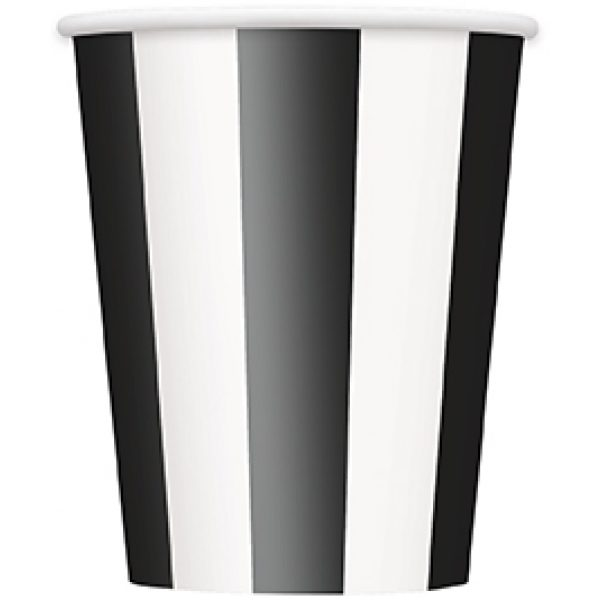 6 Pappbecher Schwarz Weiß Gestreift-0