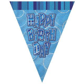 Geburtstag Happy Birthday Wimpelkette Blau Glitz-0