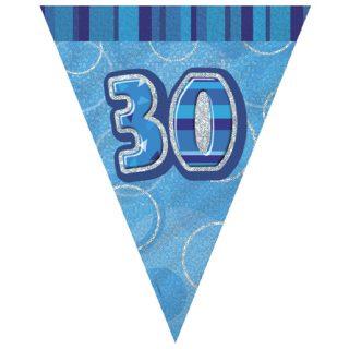 30 Geburtstag Wimpelkette Blau Glitz-0