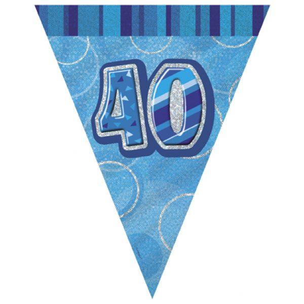 40 Geburtstag Wimpelkette Blau Glitz-0
