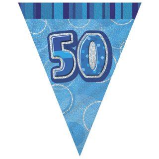 50 Geburtstag Wimpelkette Blau Glitz-0
