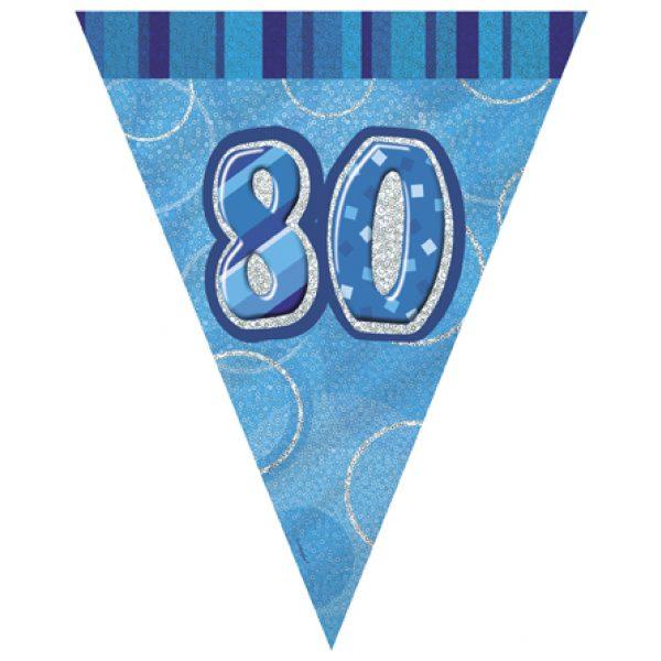 80 Geburtstag Wimpelkette Blau Glitz-0