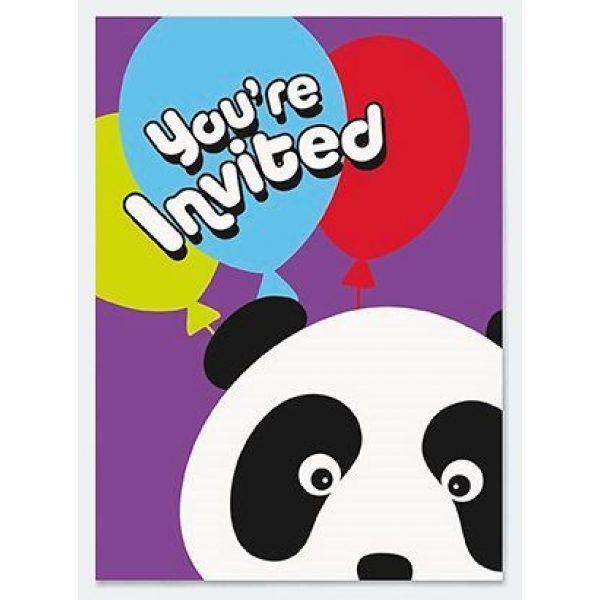 8 Panda Birthday Party Einladungen-0