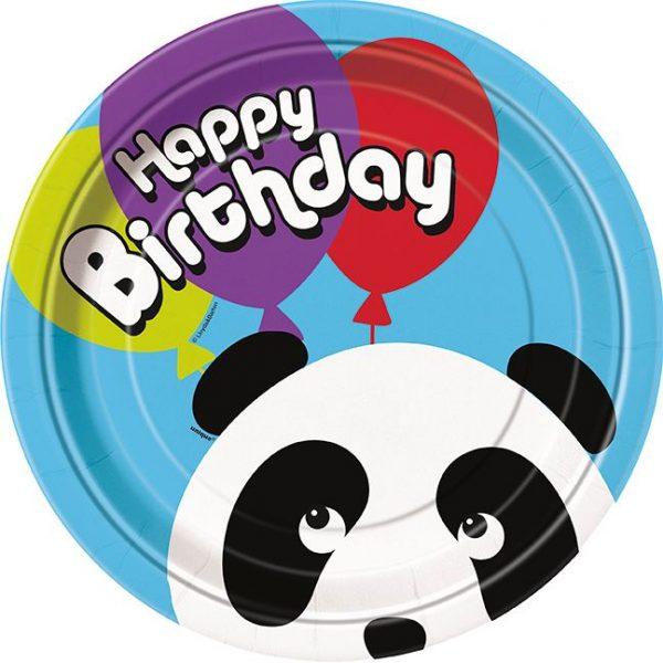 8 Pappteller Panda Birthday Geburtstag Party-0