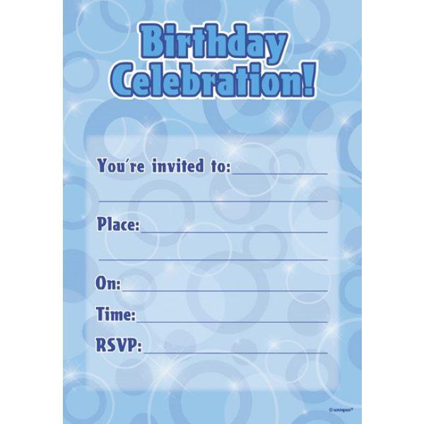 16 Blau Glitz Geburtstag Einladungen-0