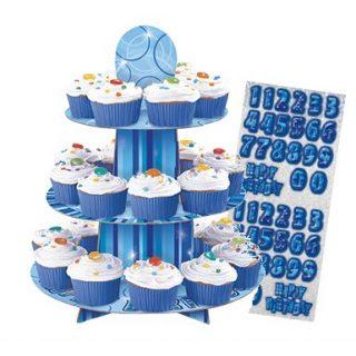 Cupcake Ständer Blau Glitz-0