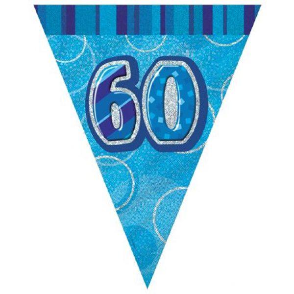60. Geburtstag Wimpelkette Blau Glitz-0