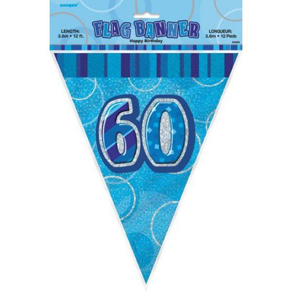 60. Geburtstag Wimpelkette Blau Glitz-2661