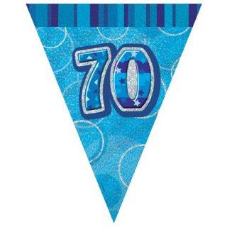 70. Geburtstag Wimpelkette Blau Glitz-0