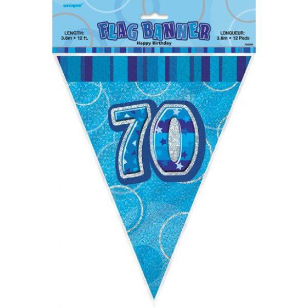 70. Geburtstag Wimpelkette Blau Glitz-2668