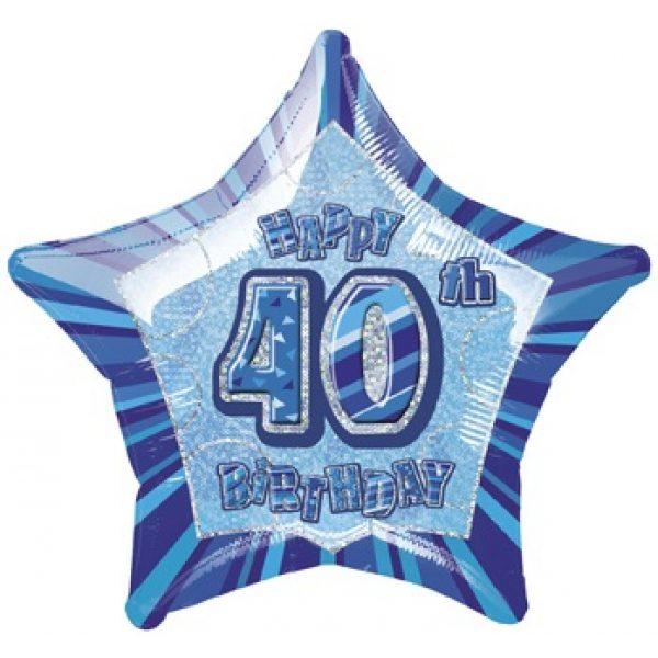 "20"" Happy 40 Birthday Blau Glitz Folienballon (50 cm)-0"