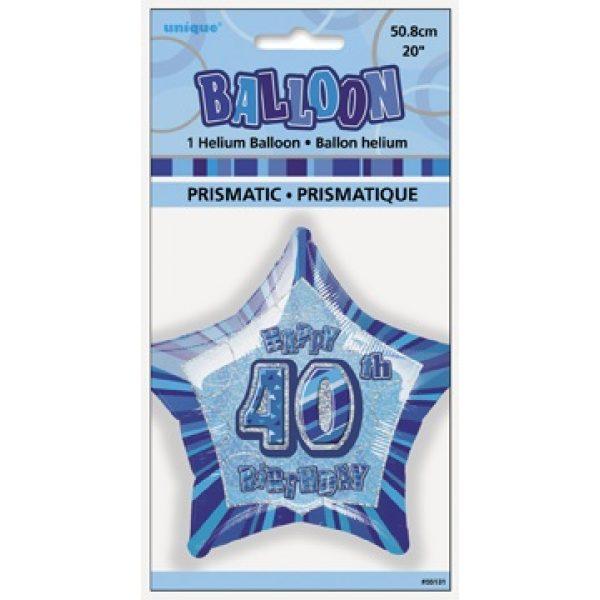 "20"" Happy 40 Birthday Blau Glitz Folienballon (50 cm)-2640"