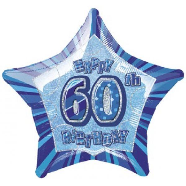 "20"" Happy 60 Birthday Blau Glitz Folienballon (50 cm)-0"