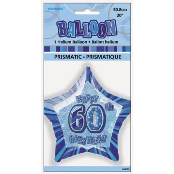 "20"" Happy 60 Birthday Blau Glitz Folienballon (50 cm)-2649"