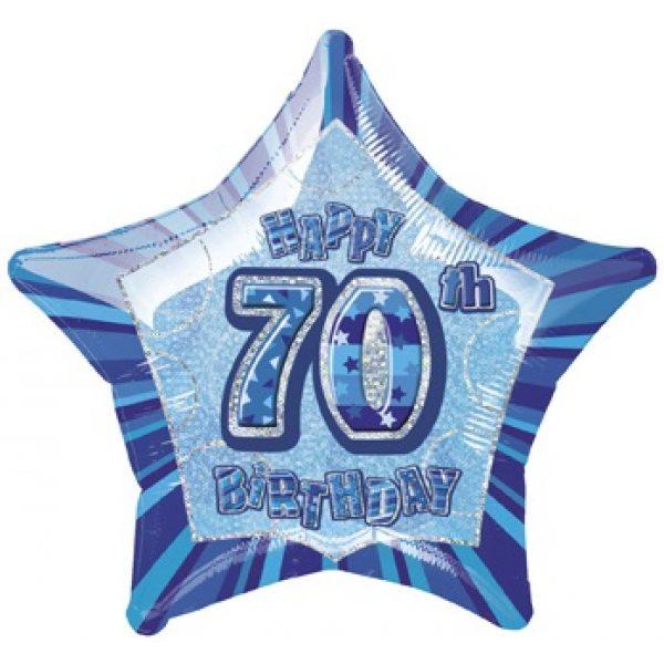 "20"" Happy 70 Birthday Blau Glitz Folienballon (50 cm)-0"