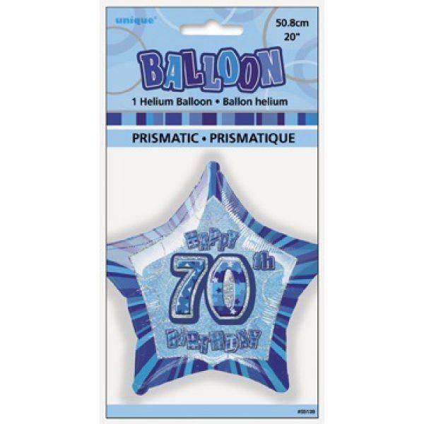 "20"" Happy 70 Birthday Blau Glitz Folienballon (50 cm)-2648"