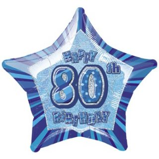 "20"" Happy 80 Birthday Blau Glitz Folienballon (50 cm)-0"