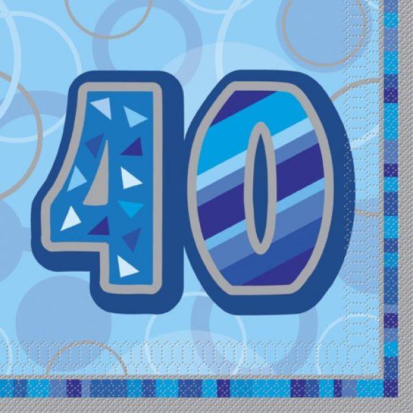 16 Blau Glitz 40. Geburtstag Servietten-0