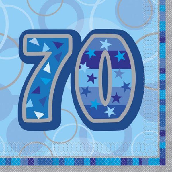 16 Blau Glitz 70. Geburtstag Servietten-0
