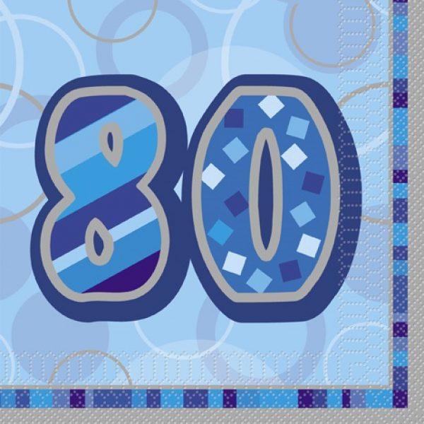 16 Blau Glitz 80. Geburtstag Servietten-0