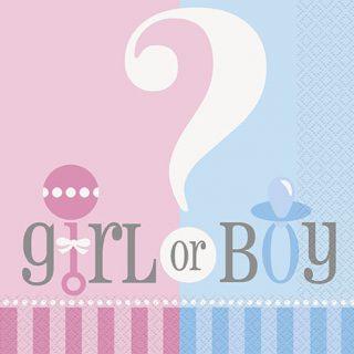 """20 """"Junge oder Mädchen"""" Fragezeichen Servietten-0"""