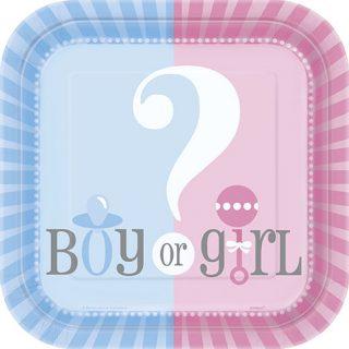 """8 Pappteller """"Junge oder Mädchen"""" Boy or Girl? Gender Reveal-0"""