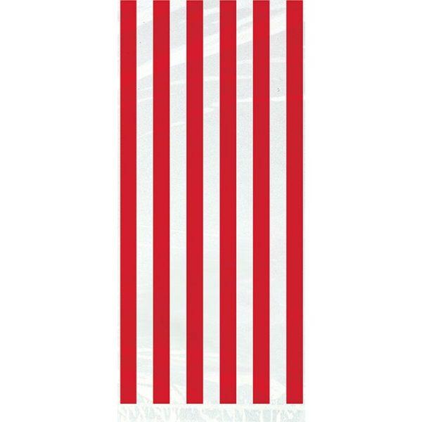 20 Cellophan Taschen Rot Streifen-2835