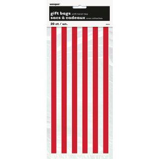 20 Cellophan Taschen Rot Streifen-0