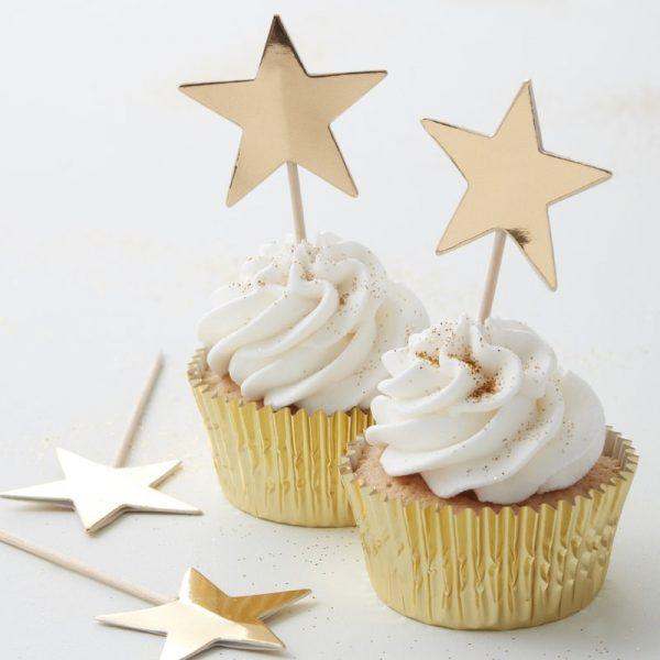 10 Gold Sterne Cupcake Picks Metallic Perfection-0
