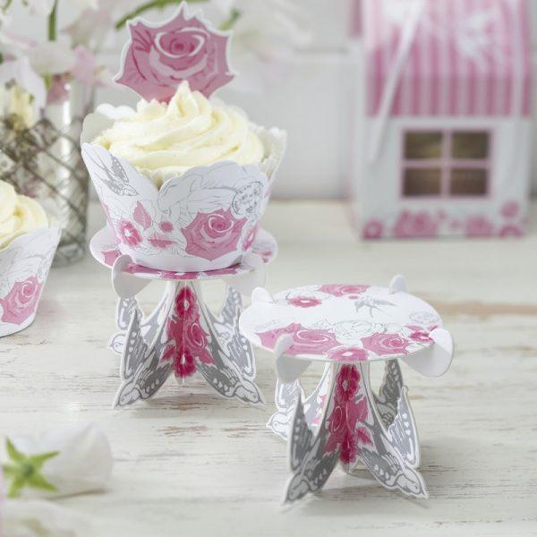 3 Cupcake Ständer Rose & Vogel -0