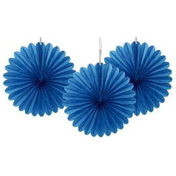 3 Deko Party Fächer Blau 15 cm-0