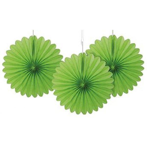 3 Deko Party Fächer Grün 15 cm-0